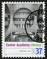 2005 Postage stamp of Phillips Exeter Academy Library (Exeter, New Hampshire)